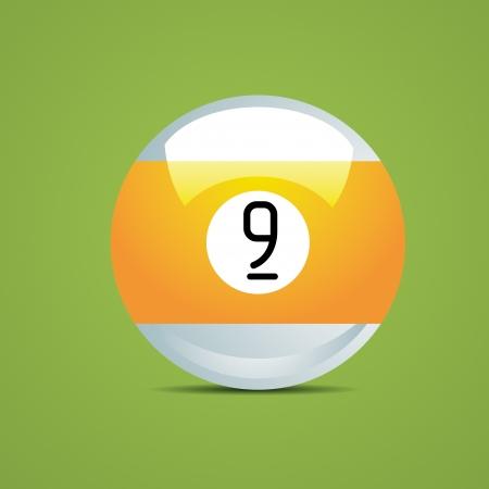 pool game: half Billiard ball number nine 9 Sport pool Game hobby cue restaurant table green