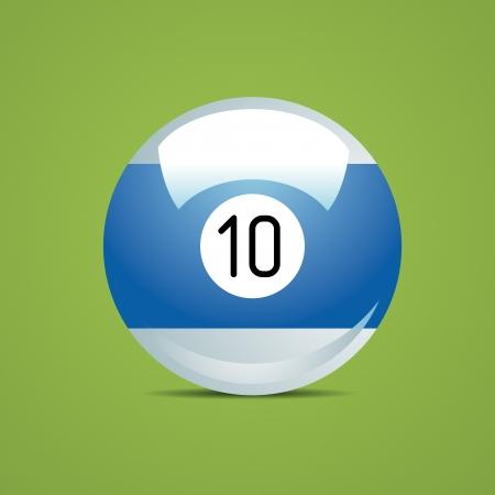 numero diez: número medio Bola de billar pool diez 10 Sport Juego afición blanca mesa de restaurante verde