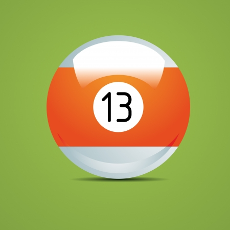 pool game: Half Billiard ball number thirteen 13 Sport pool Game hobby cue restaurant table green Illustration
