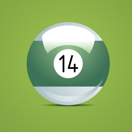 pool game: Half Billiard ball number fourteen 14 Sport pool Game hobby cue restaurant table green Illustration