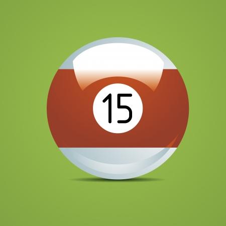 bola de billar: La mitad Billar bola número 15 quince deporte piscina Juego afición blanca mesa de restaurante verde Vectores