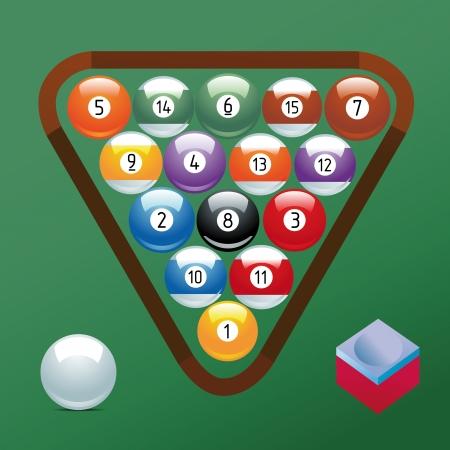 Billard jeu de billes collection Sport craie piscine jeu passe-temps cue restaurant table triangulaire vert Illustration