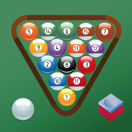 billiards tables: Billiard ball set collection chalk Sport pool Game hobby cue restaurant table green triangular Illustration