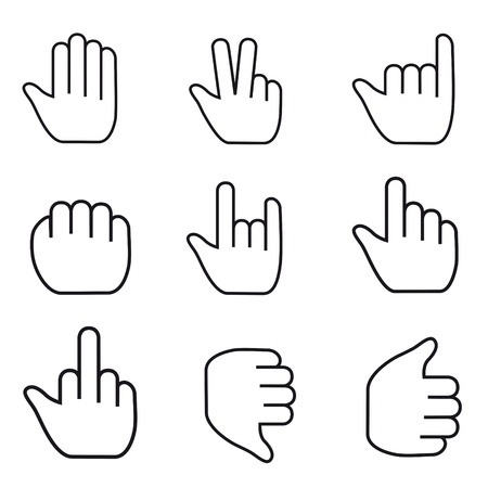 mauszeiger: Black and white Vector Mouse cursor hand set
