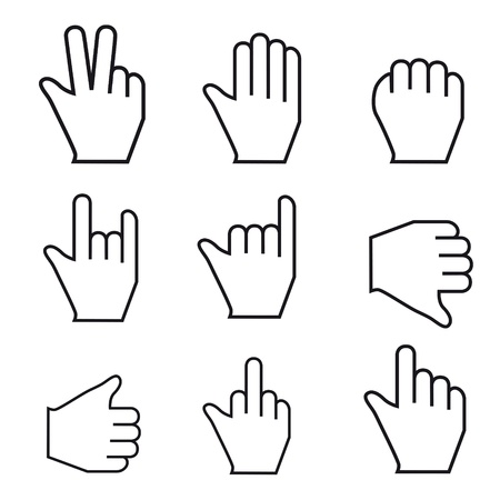 pointing device: Black and white Vector Mouse cursor hand set