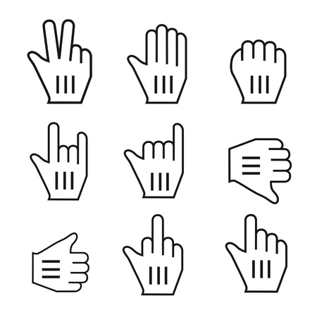 Black and white Vector Mouse cursor hand set Vector