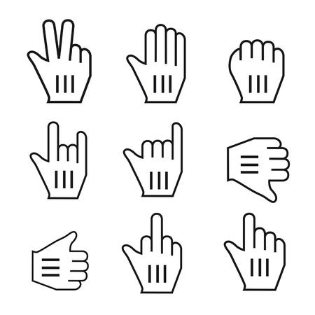 input device: Negro y el rat�n blanco Vector conjunto mano del cursor