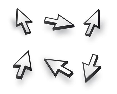 curseur souris: Noir et blanc Vecteur 3d souris jeu de curseurs Illustration