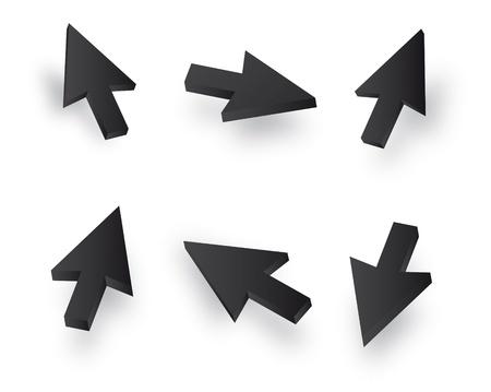curseur souris: Noir Vecteur 3d souris jeu de curseurs Illustration
