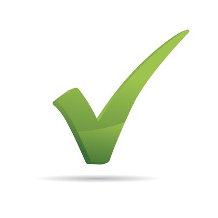 tick: 3d Vecteur Green X v�rifier ic�ne signe haken Illustration