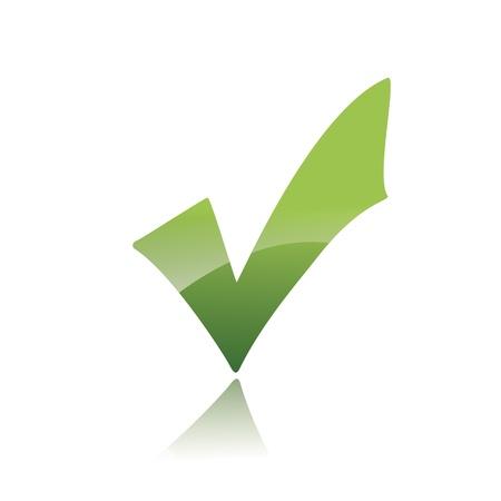 positive note: Vector Green  X check haken sign icon