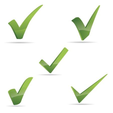 garrapata: Vector Verde X comprobar signo haken conjunto de iconos