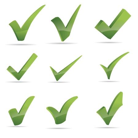 kontrolovány: Vector Green X Kontrola Haken znamení sadu ikon Ilustrace