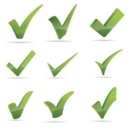 check icon: Vector Verde X comprobar signo haken conjunto de iconos
