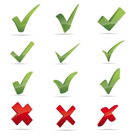 Vector verde X controllo Haken segno X rossa croce set
