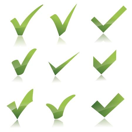 Vector Green X controllare segno set Haken icona