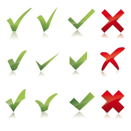 rood kruis: Vector Green X controle haken pictogram met rode X kruis set