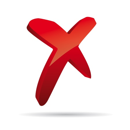 fouten: 3D Vector rode X kruis teken pictogram