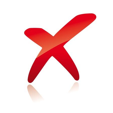 fouten: Vector rode X kruis teken icoon Stock Illustratie