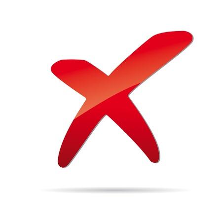 tick: Vector X roja cruz signo icono