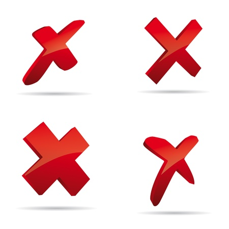 approval button: Vector red X cross sign icon set