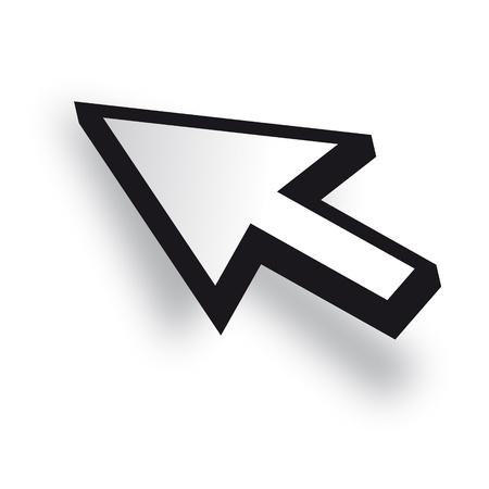 curseur souris: Blanc 3D curseur de la souris vecteur Illustration