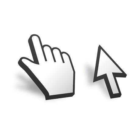 kursor: Biały 3D Vector Kursor myszy i ręka Ilustracja