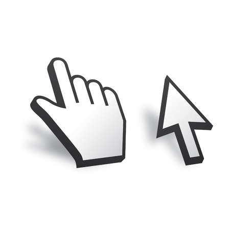 pointing device: White 3D Vector Mouse cursor and hand Illustration