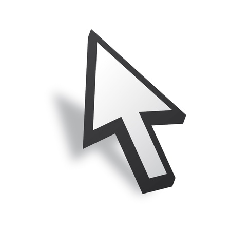 White 3D Vector Mouse cursor Vector