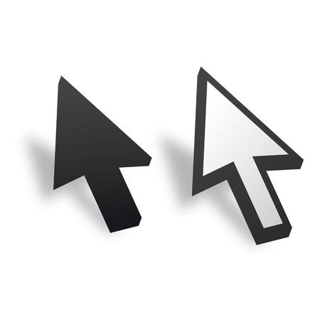 input device: Blanco y Negro del cursor del rat�n 3D Vector