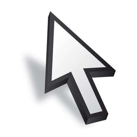 curseur souris: Blanc 3D curseur de la souris Vecteur