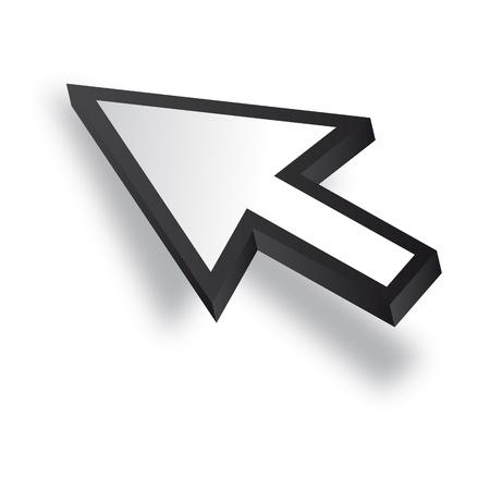 White 3D Vector Mouse cursor Stock Vector - 12508190