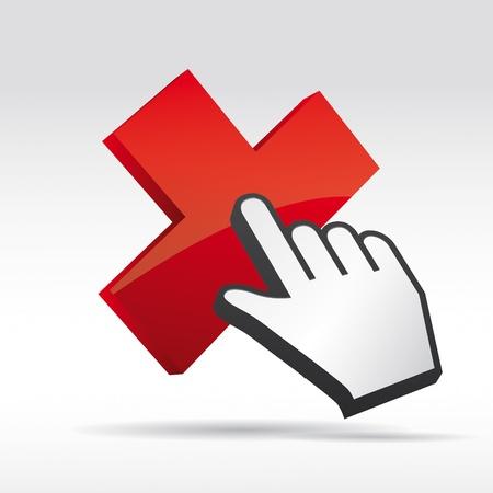 logo informatique: 3D Vecteur main curseur de la souris avec les croix x Illustration