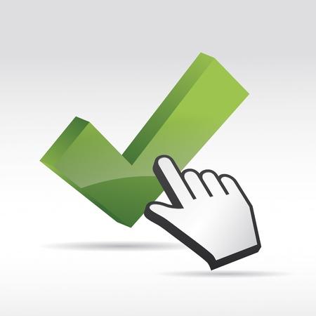 coincidir: 3D Ratón Vector cursor de la mano con la marca de verificación