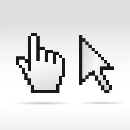 mauszeiger: Black and White Pixel 3D Vector Mouse cursor hand