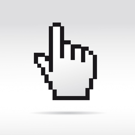 Black and White Pixel 3D Vector Mouse cursor hand Vector