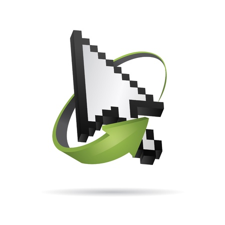 mauszeiger: 3D Vector pixel Mouse cursor with arrow Illustration