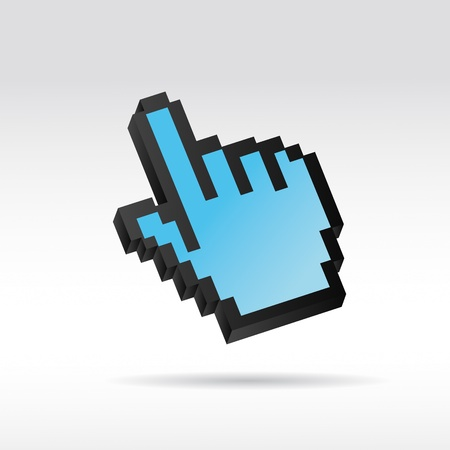 mauszeiger: blue Pixel 3D Vector Mouse cursor hand Illustration