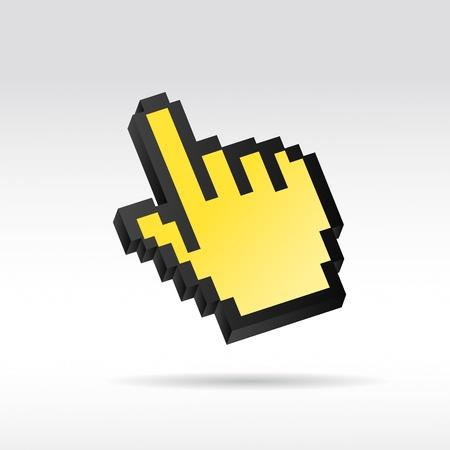 3d cursor: yellow Pixel 3D Vector Mouse cursor hand
