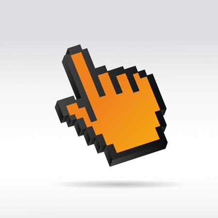 pointing device: orange Pixel 3D Vector Mouse cursor hand