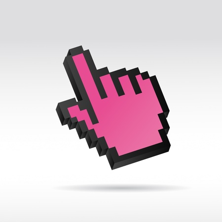 mauszeiger: purple Pixel 3D Vector Mouse cursor hand Illustration