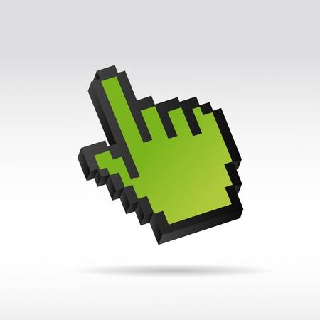 curseur souris: Pixel vert 3D Vecteur curseur de la souris la main Illustration