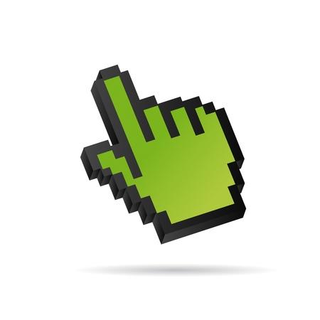 green Pixel 3D Vector Mouse cursor hand Stock Vector - 12508176