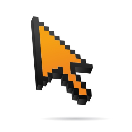 mauszeiger: orange Pixel 3D Vector Mouse cursor Illustration