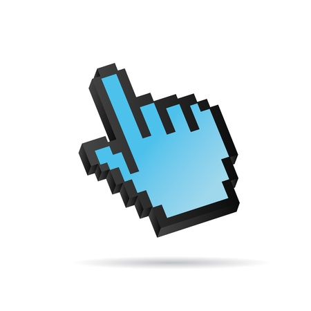 input device: Pixel azul Vector 3D del cursor del rat�n a mano