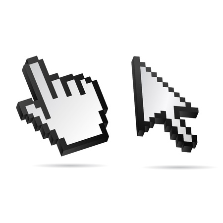 mauszeiger: Black and White 3D Vector Mouse cursor hand set Illustration