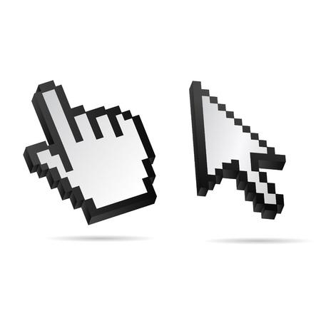 curseur souris: Noir et Blanc Vector 3D Mouse main curseur ensemble Illustration