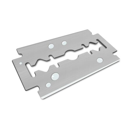 narrowly: 3D Vector razor blade with water Drops Illustration
