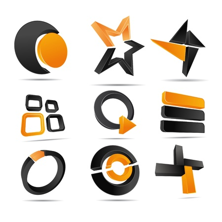 3D illustration Logo Forms orange Stock Vector - 12394376