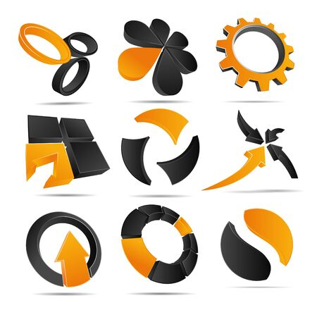 3D illustration Logo Forms orange Stock Vector - 12394373
